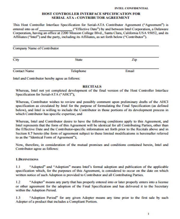 12+ Contribution Agreement Templates - PDF | Free & Premium Templates