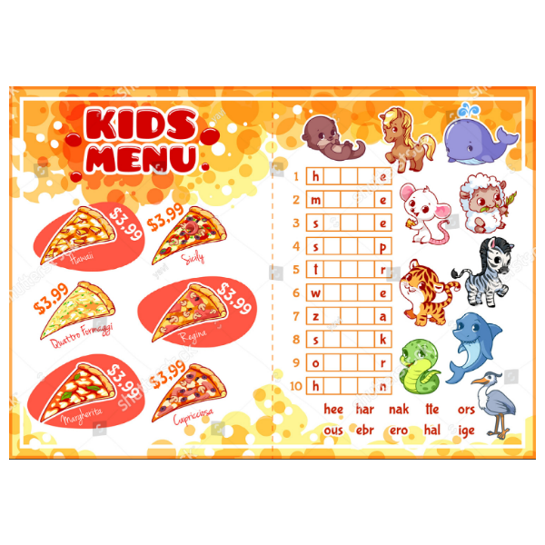 Kids Printable Food Menu Card Template