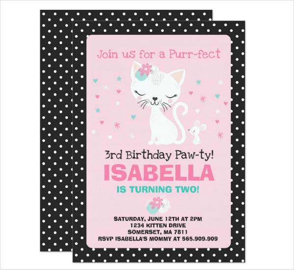 Kitty Birthday Invitation Example