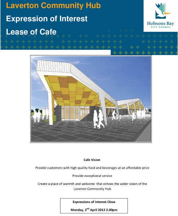 lease proposal example for cafe