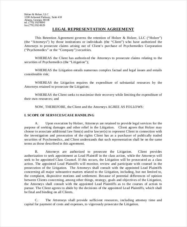 legal representation agreement