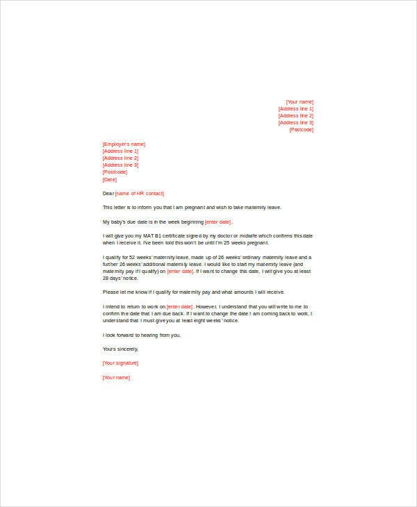 letter for maternity leave to an employer