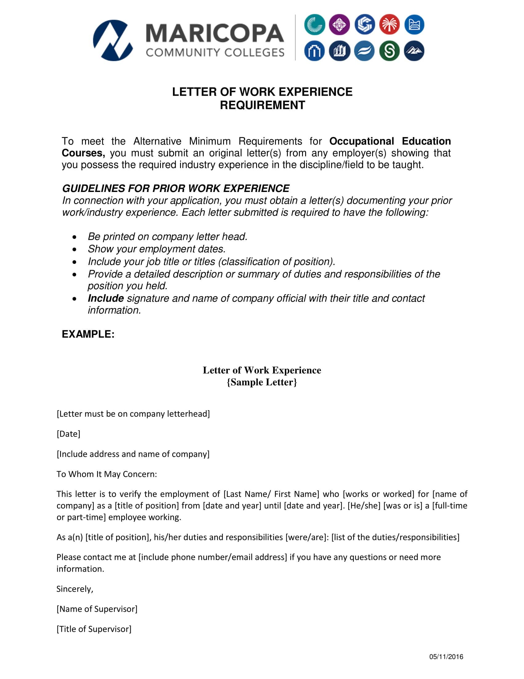 letter of work experience template