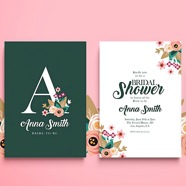 Lettermark Modern Bridal Shower Card Template