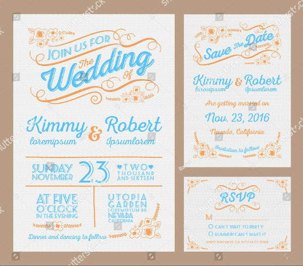 Letterpress Wedding Invitation Card Sample