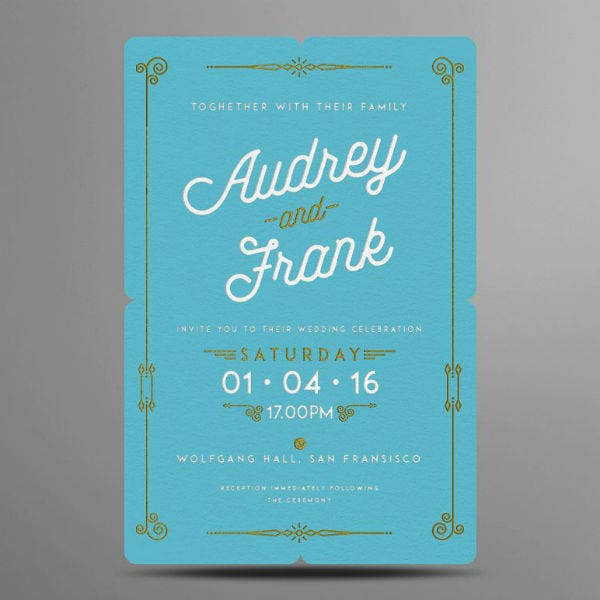 Letterpress Wedding Invitation Card Sample