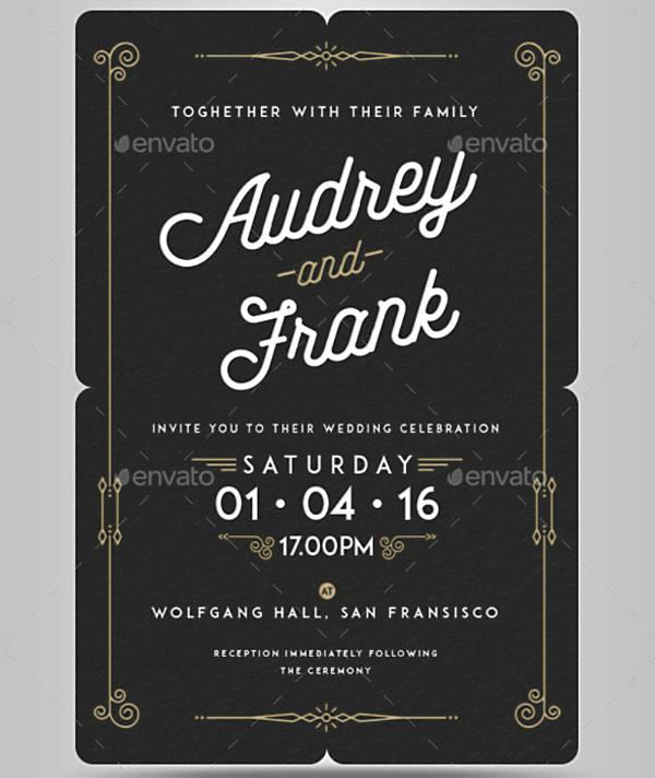 Longhand Letterpress Wedding Invitation Example