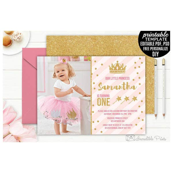 Luxurious Glitter Girls Birthday Card Template