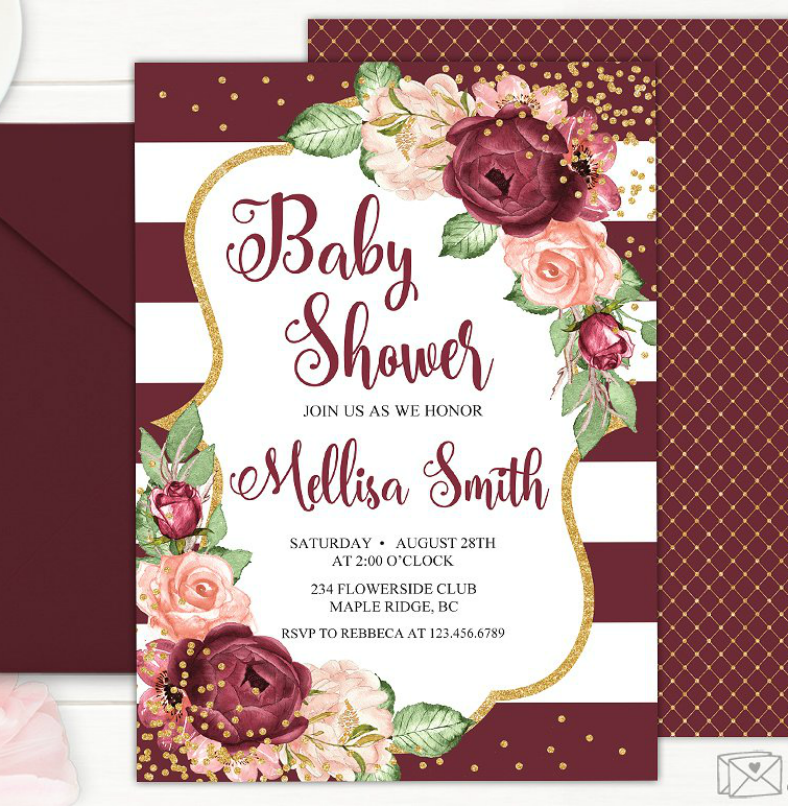 Luxurious Glitters Baby Shower Invitation Template