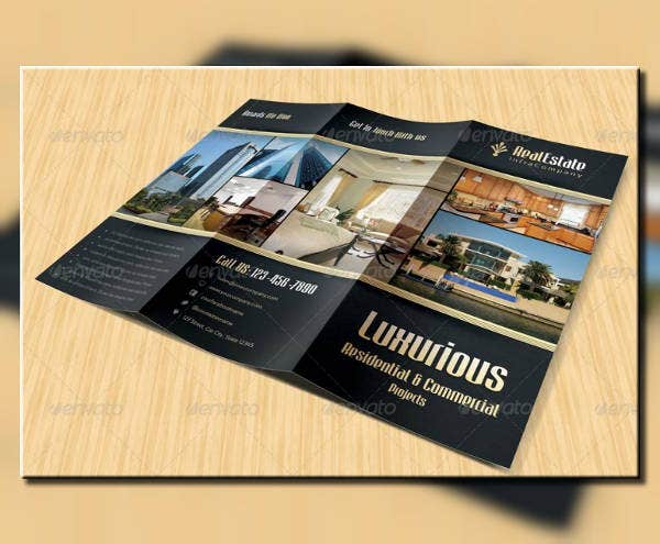 luxurious real estate trifold brochure template