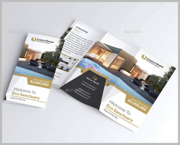luxury homes real estate trifold brochure