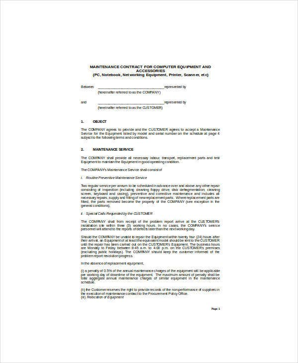 maintenance contract for microcomputers