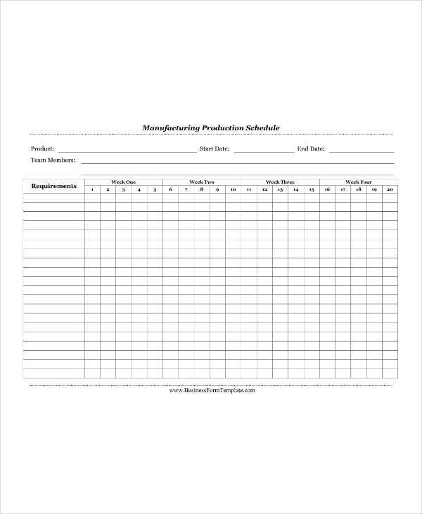 Manufacturing Production Schedule Calendar