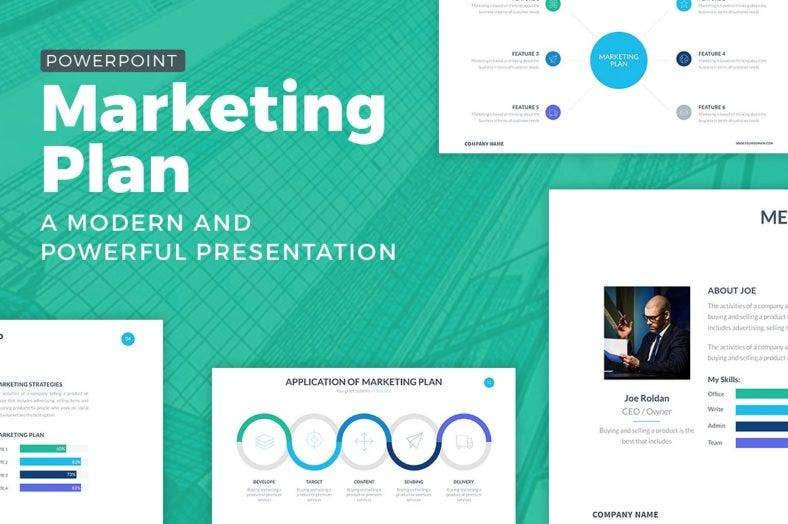 marketing plan simple powerpoint template 788x524