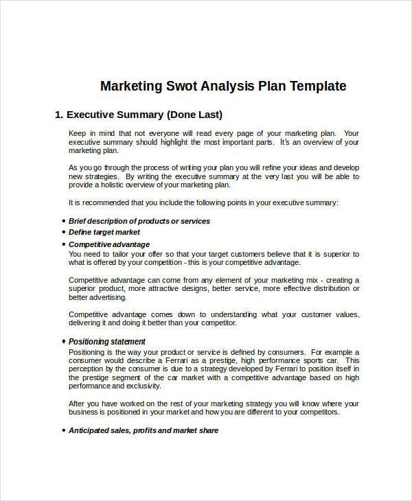 marketing swot analysis sample