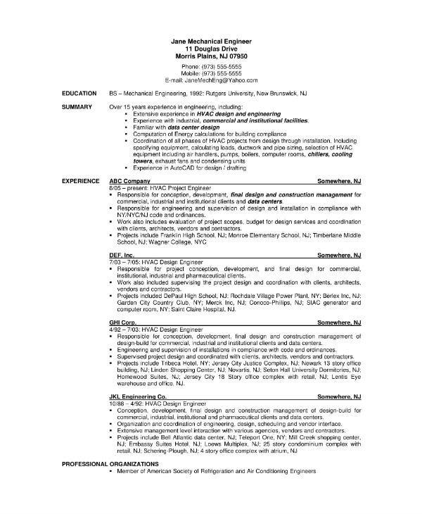 mechanical engineering curriculum vitae sample template