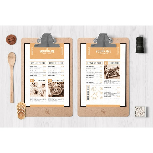 minimal and fancy menu template