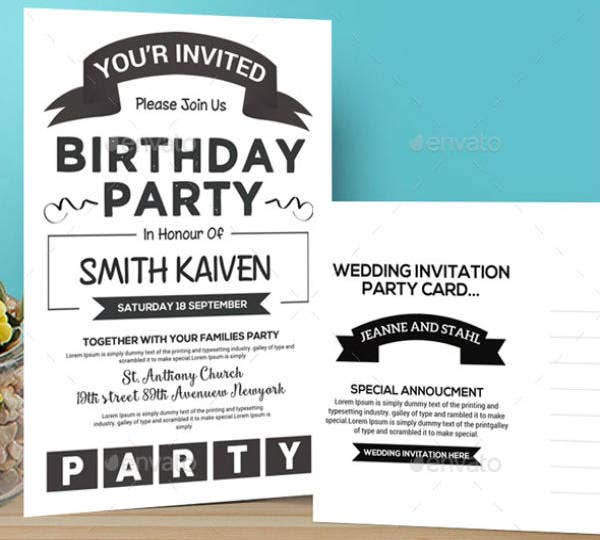 Minimalist Birthday Invitation Card for Kids