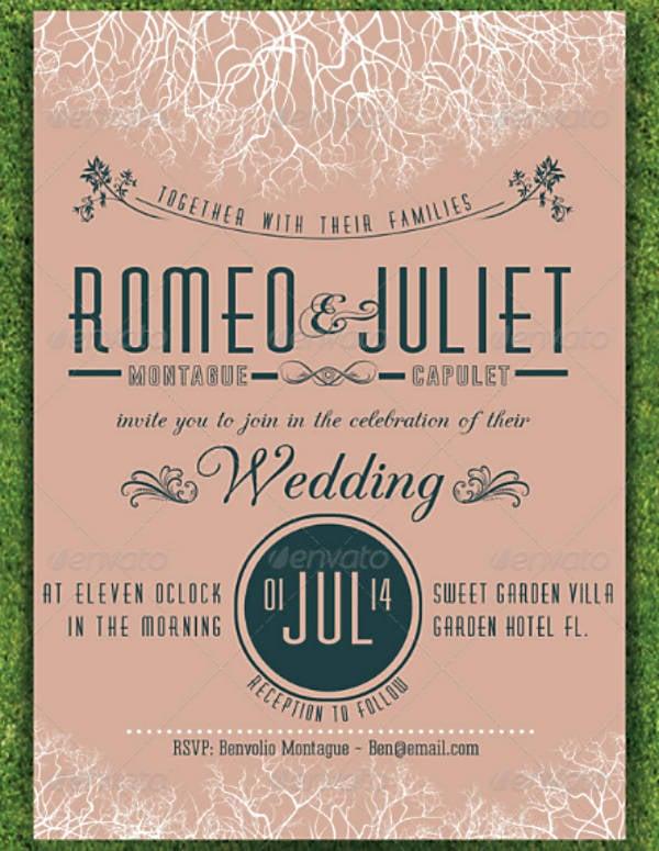 Minimalist Garden Wedding Invitation Template