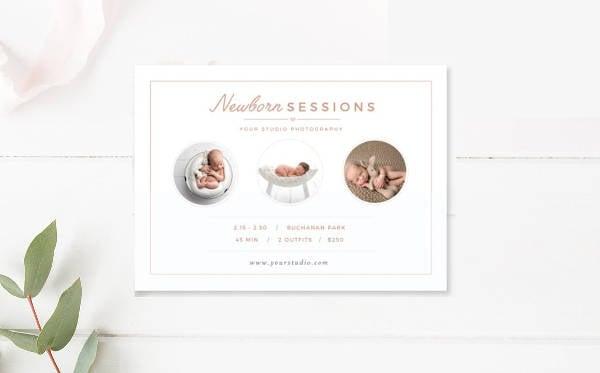 Minimalist Newborn Photographer Business Card