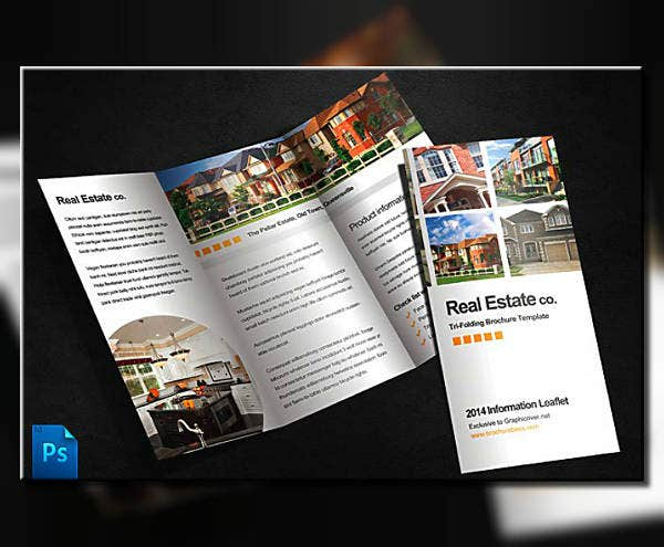 minimalist real estate trifold brochure template