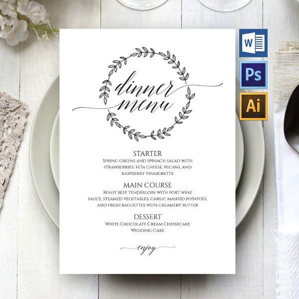 Minimalist Wedding Dinner Menu Template