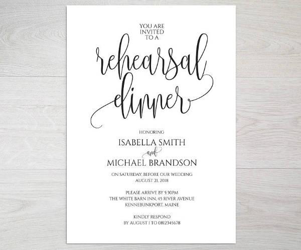 Minimalist Wedding Rehearsal Dinner Invitation