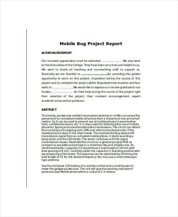 mobile bug project report