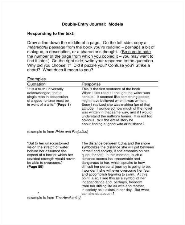 Models Double-Entry Journal Template