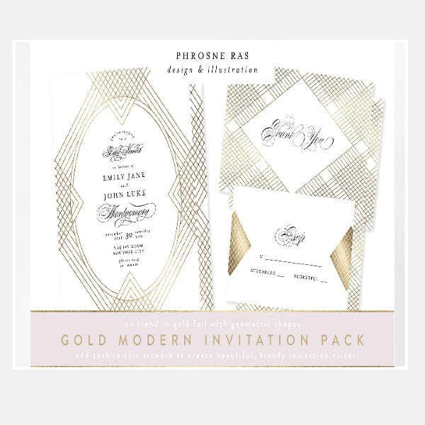 Modern Blank Wedding Invitation Template