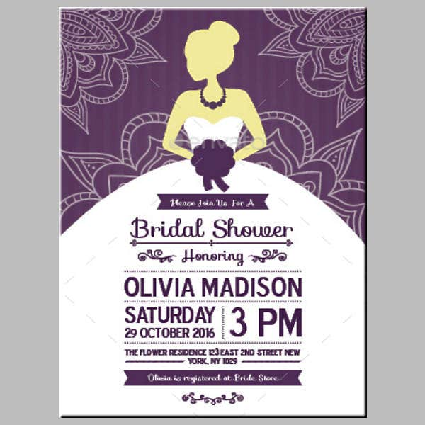 Modern Bridal Shower Card Silhouette Template