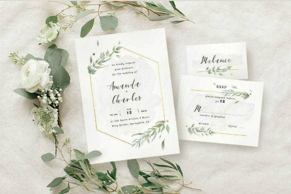 Modern Foliage Wedding Invitation Template