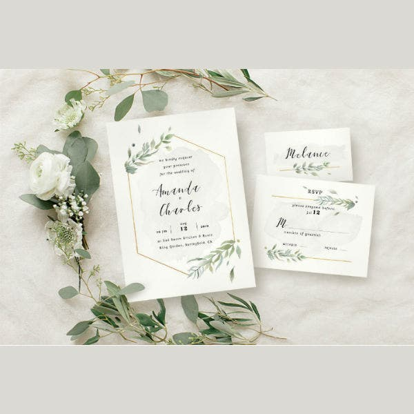 modern gold foliage wedding invitation template suite