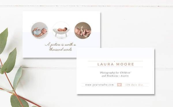 Modern Newborn Photographer Business Card
