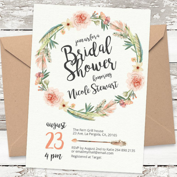 Modern Rustic Bridal Shower Card Template