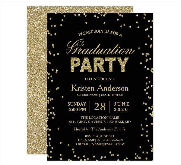 modern sparkles graduation party invitation