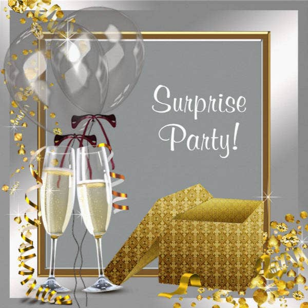 Modern Surprise Party Card Template