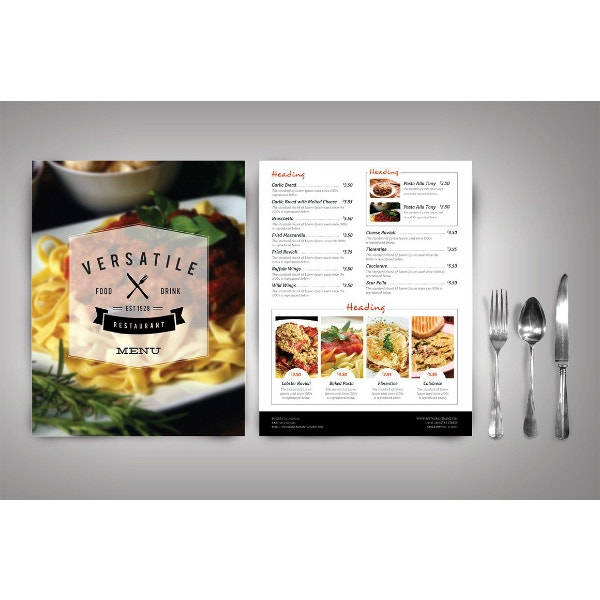 modern and fancy menu template