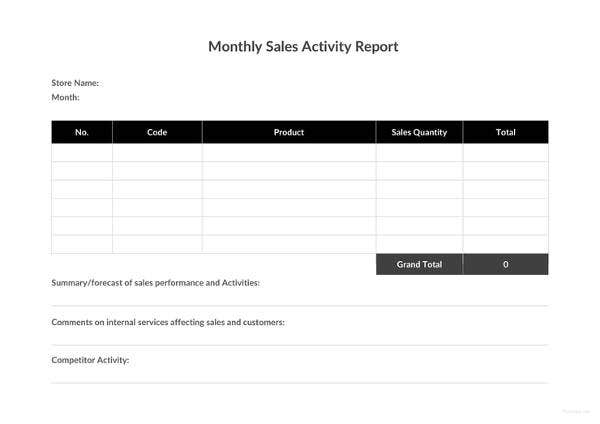 monthly sales activity report template