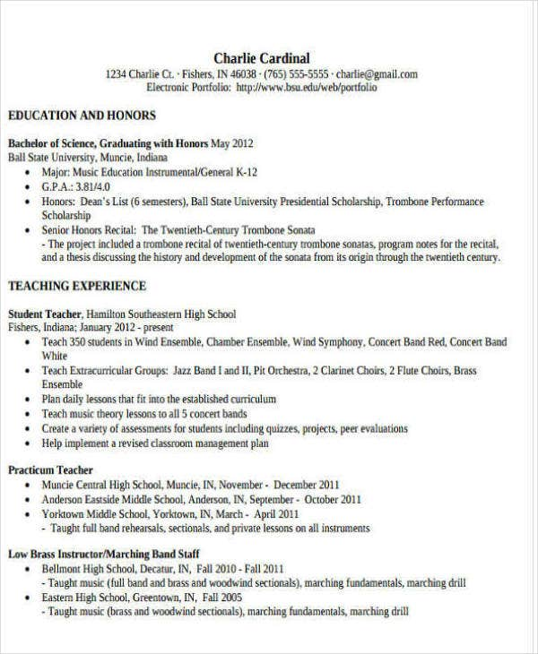 Music Teacher Resume Sample