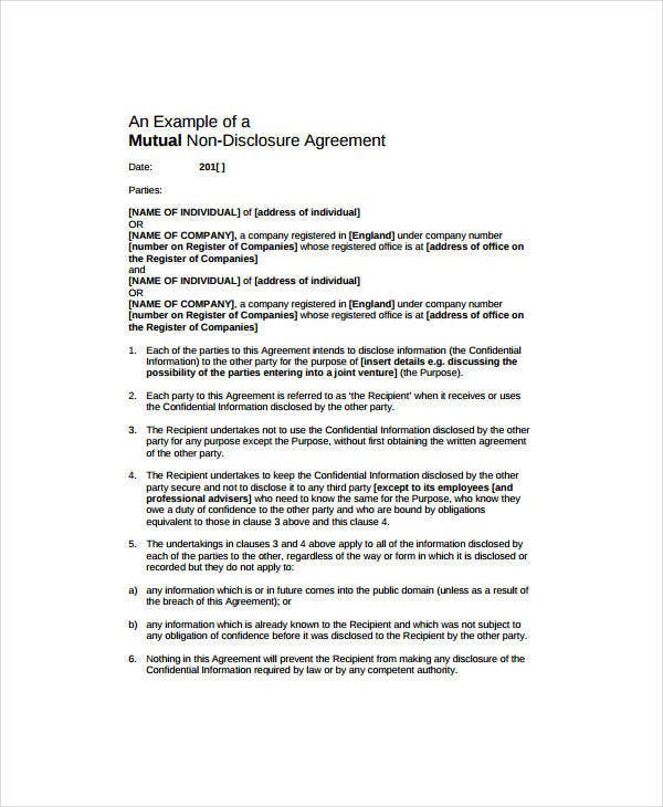 Mutual Non-Disclosure Agreement Example