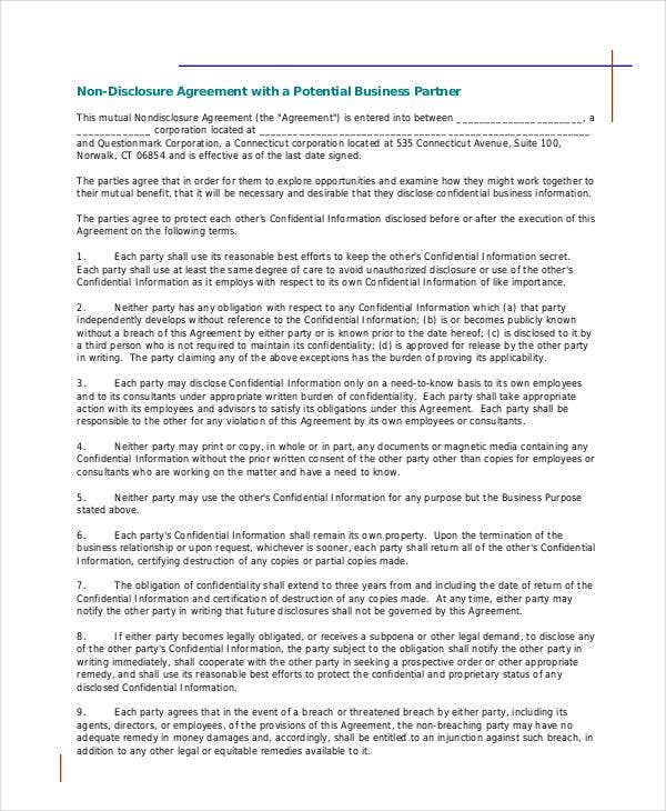 mutual non disclosure agreement for business