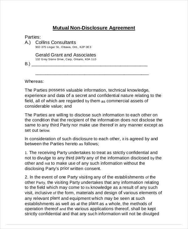 mutual nondisclosure agreement format