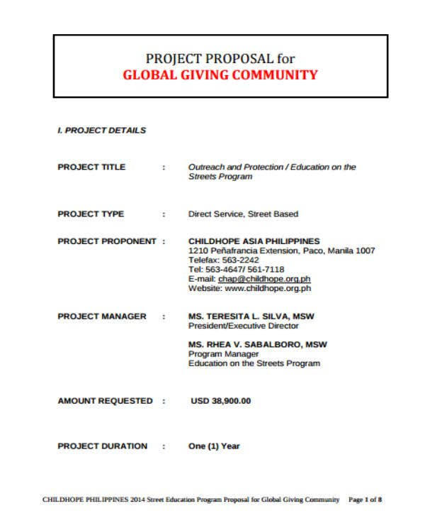 ngo project proposal sample