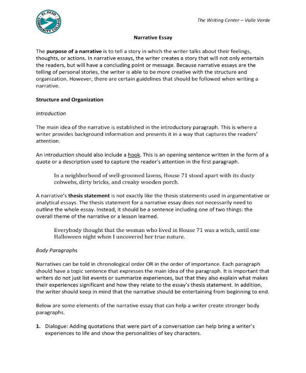narrative essay templates   pdf  free  premium templates narrative essay