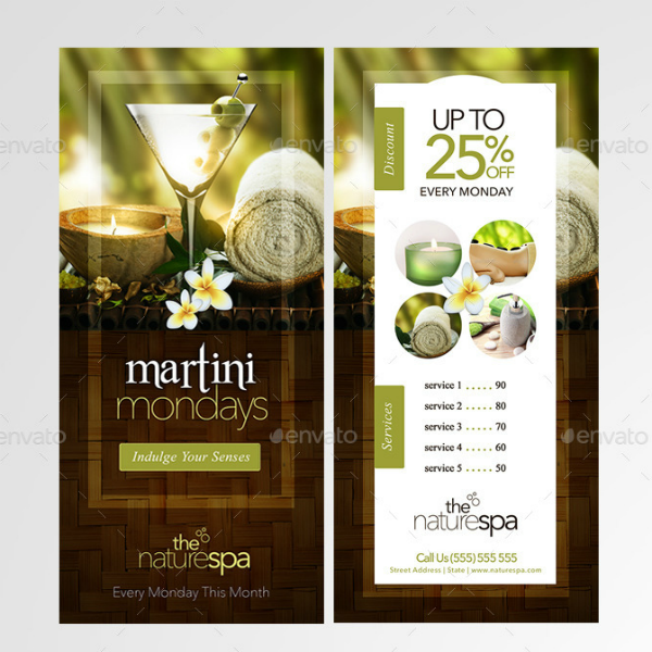 Nature Spa Business Rack Card Template