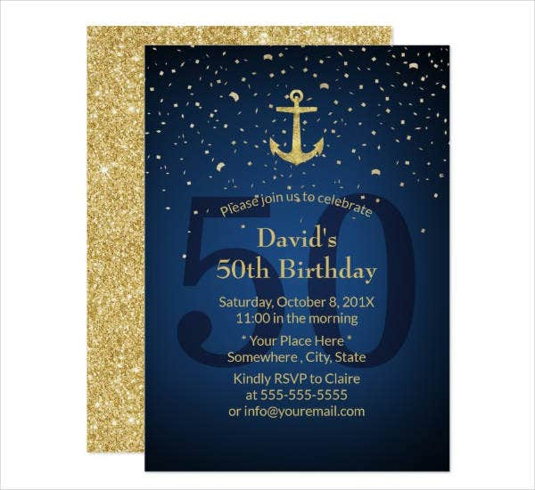nautical 50th birthday party invitation card template