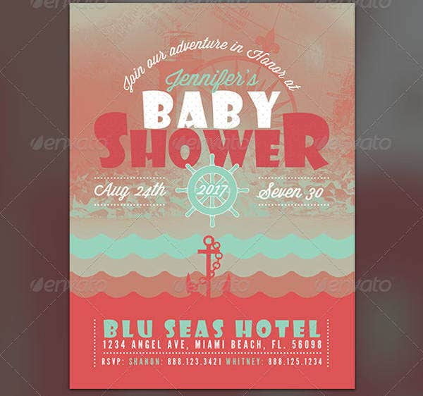 Nautical Baby Shower Flyer Invite Template