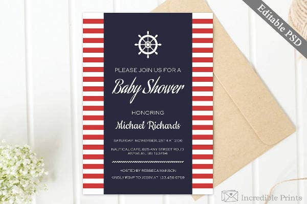 Nautical Baby Shower Invitation Example
