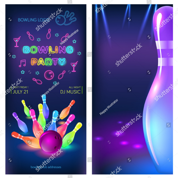 neon bowling party flyer invitation template